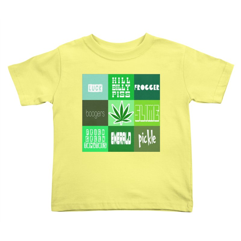 GREEN Kids Toddler T-Shirt by Inappropriate Wares