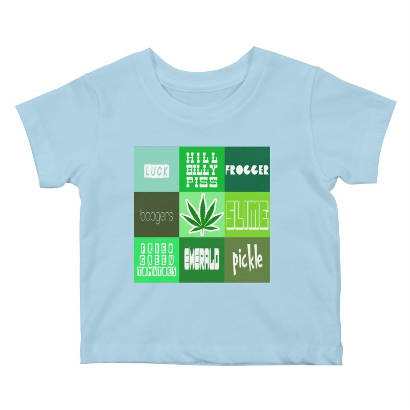 GREEN Kids Baby T-Shirt by Inappropriate Wares