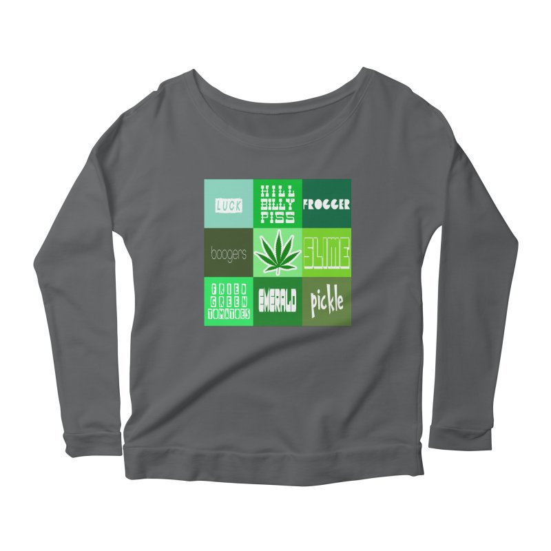 GREEN Women's Scoop Neck Longsleeve T-Shirt by Inappropriate Wares