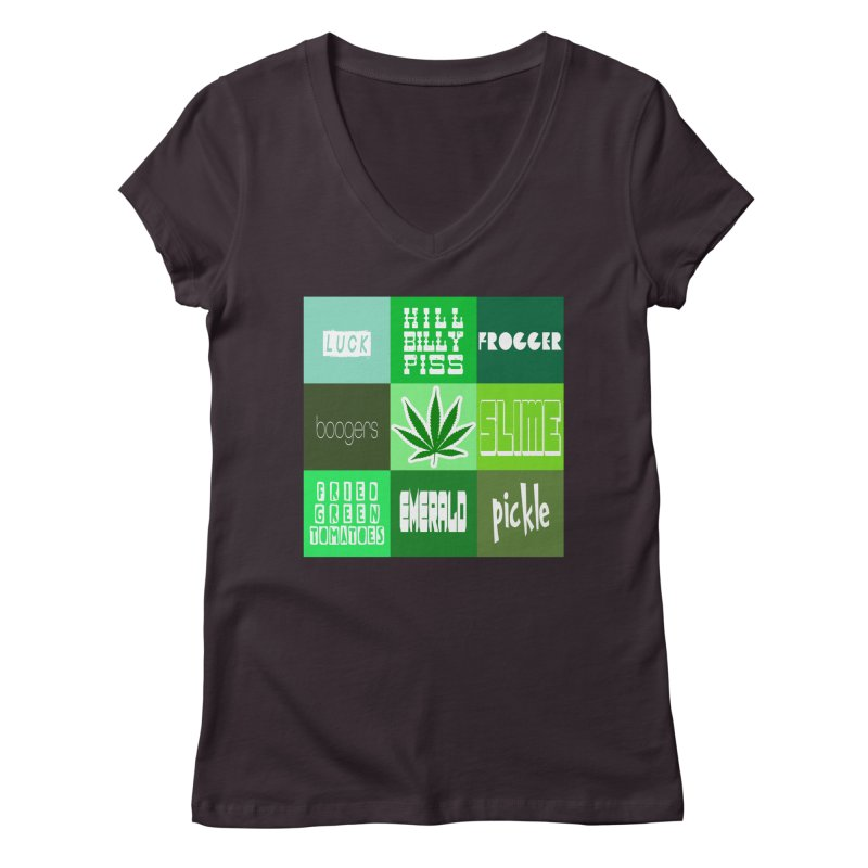 GREEN Women's Regular V-Neck by Inappropriate Wares