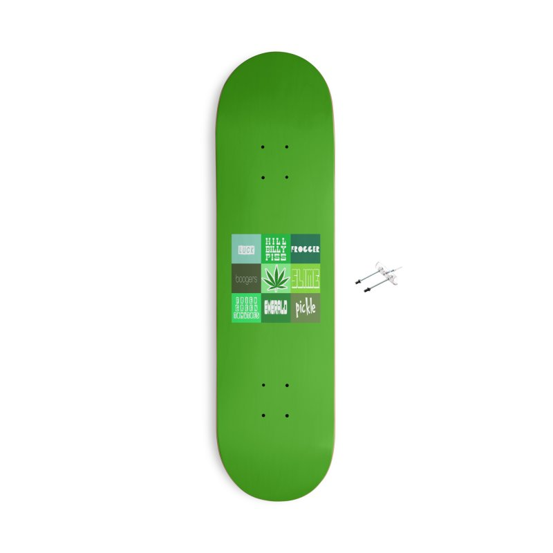 GREEN Accessories With Hanging Hardware Skateboard by Inappropriate Wares