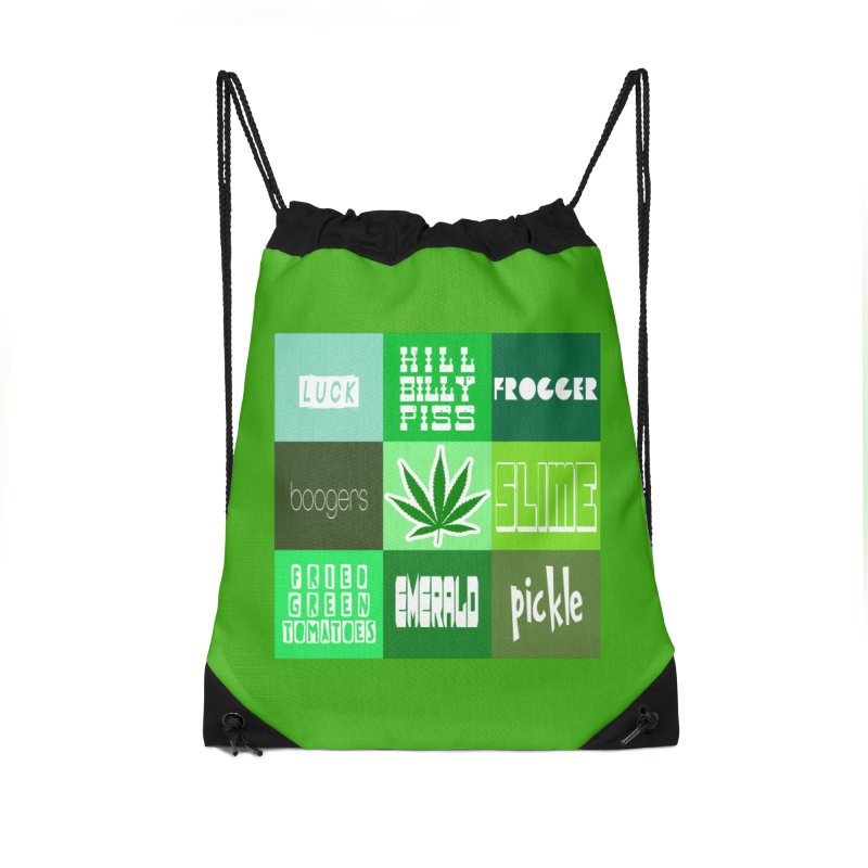 GREEN Accessories Drawstring Bag Bag by Inappropriate Wares