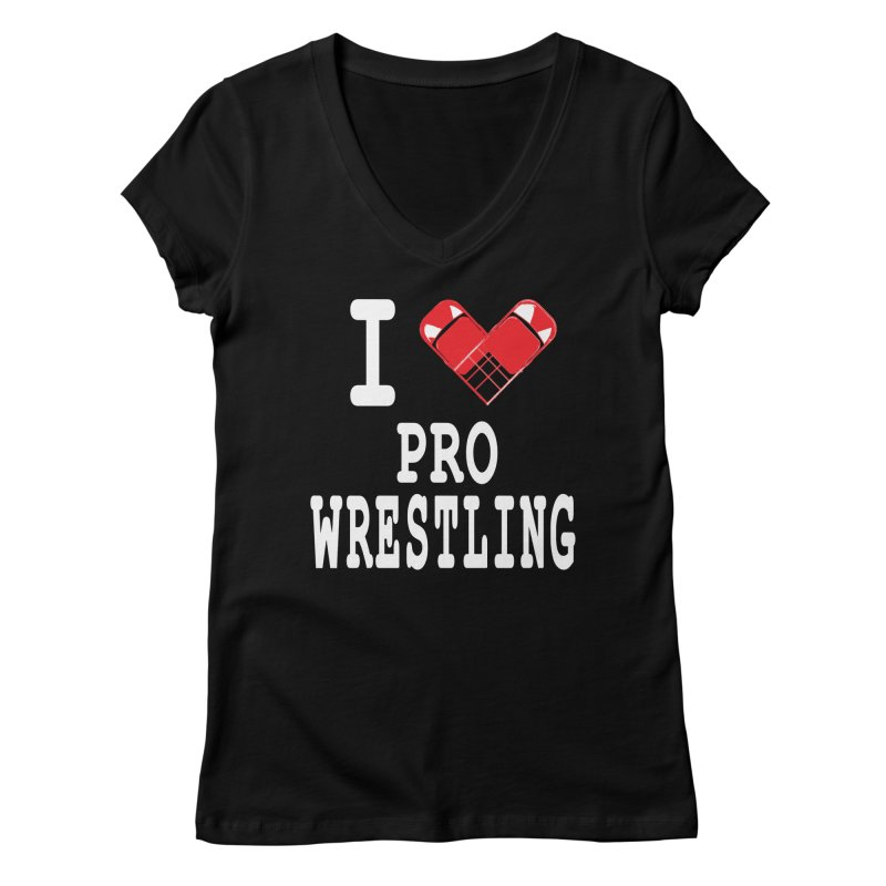I Heart Wrasslin! Women's Regular V-Neck by inbrightestday's Artist Shop