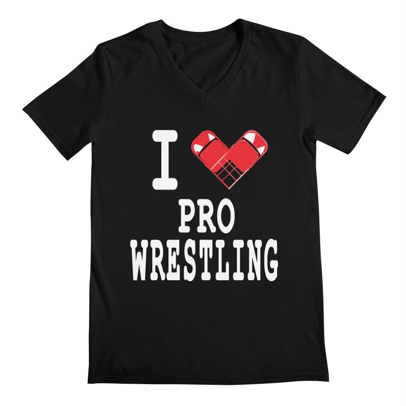 I Heart Wrasslin! Men's Regular V-Neck by inbrightestday's Artist Shop