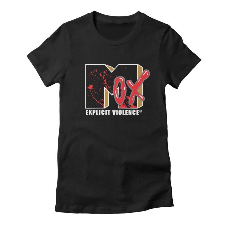 Violent Television (Black) Women's Fitted T-Shirt by inbrightestday's Artist Shop