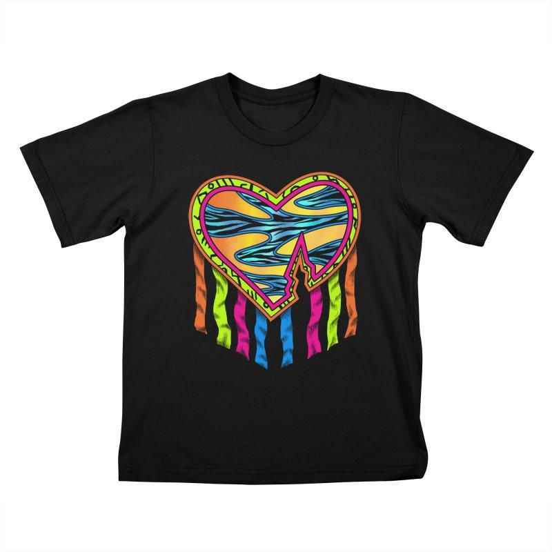 Rock Breaks Heart Kids T-Shirt by inbrightestday's Artist Shop
