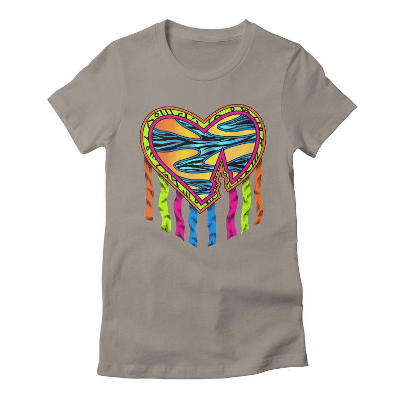 Rock Breaks Heart Women's Fitted T-Shirt by inbrightestday's Artist Shop