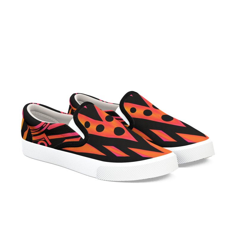 Blazing Fire Arrow Men's Slip-On Shoes by inbrightestday's Artist Shop