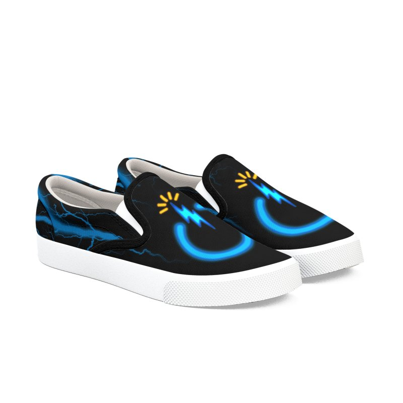 Blue Thunder Bomb Men's Slip-On Shoes by inbrightestday's Artist Shop