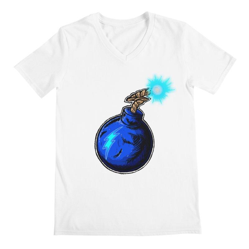 Bomb of Blue Thunder Men's Regular V-Neck by inbrightestday's Artist Shop