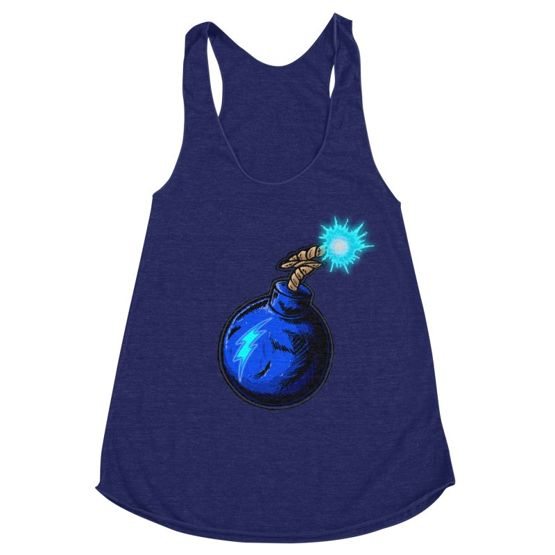 Bomb of Blue Thunder Women's Racerback Triblend Tank by inbrightestday's Artist Shop