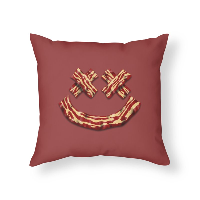 Death by Bacon Home Throw Pillow by inbrightestday's Artist Shop