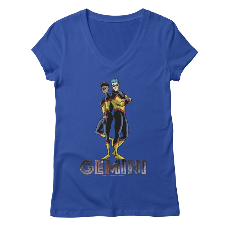 Gemini - Daring Duo Women's Regular V-Neck by incogvito's Artist Shop