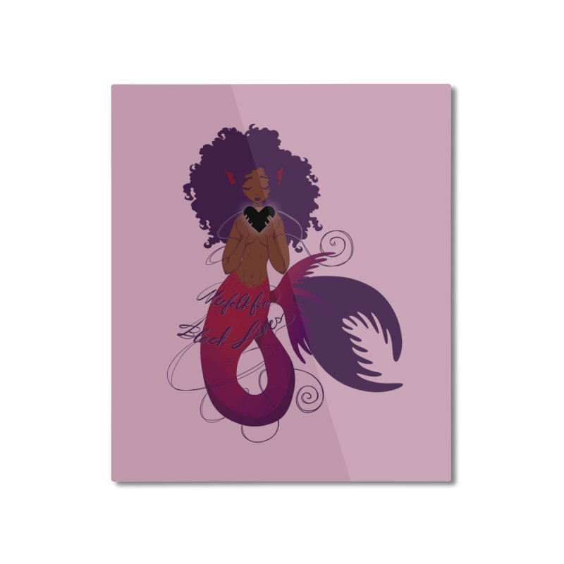 Merfolk for Black Lives Home Mounted Aluminum Print by Incredibly Average Online Store