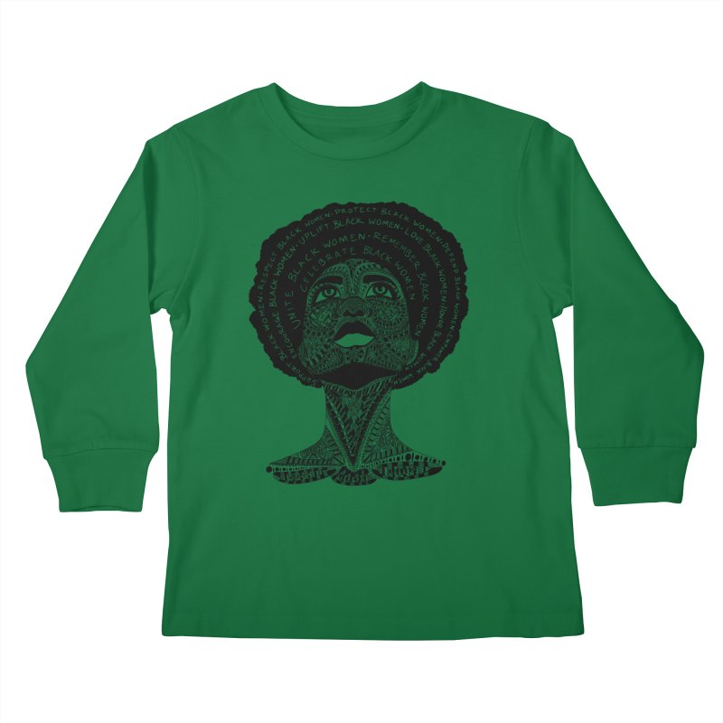 Support Black Women Kids Longsleeve T-Shirt by Incredibly Average Online Store
