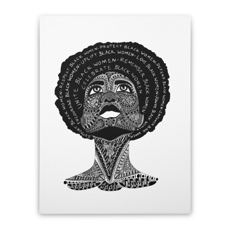 Support Black Women Home Stretched Canvas by Incredibly Average Online Store