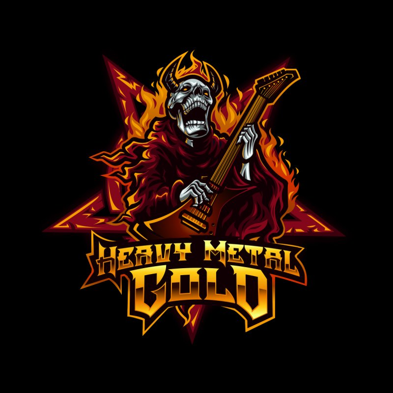 Heavy Metal Gold Men's Longsleeve T-Shirt by Indie Music Bus Stop and Shop