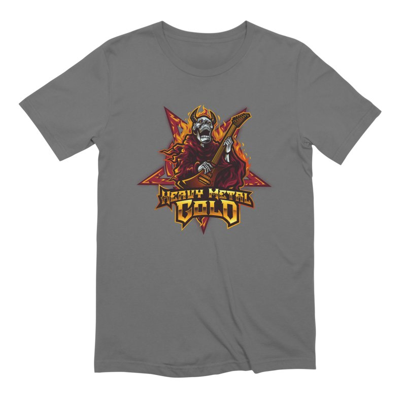 Heavy Metal Gold Men's T-Shirt by Indie Music Bus Stop and Shop