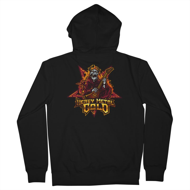 Heavy Metal Gold Men's Zip-Up Hoody by Indie Music Bus Stop and Shop