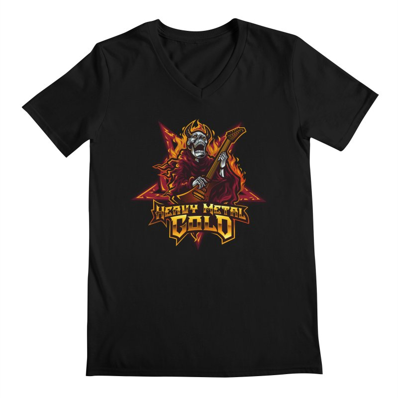 Heavy Metal Gold Men's V-Neck by Indie Music Bus Stop and Shop
