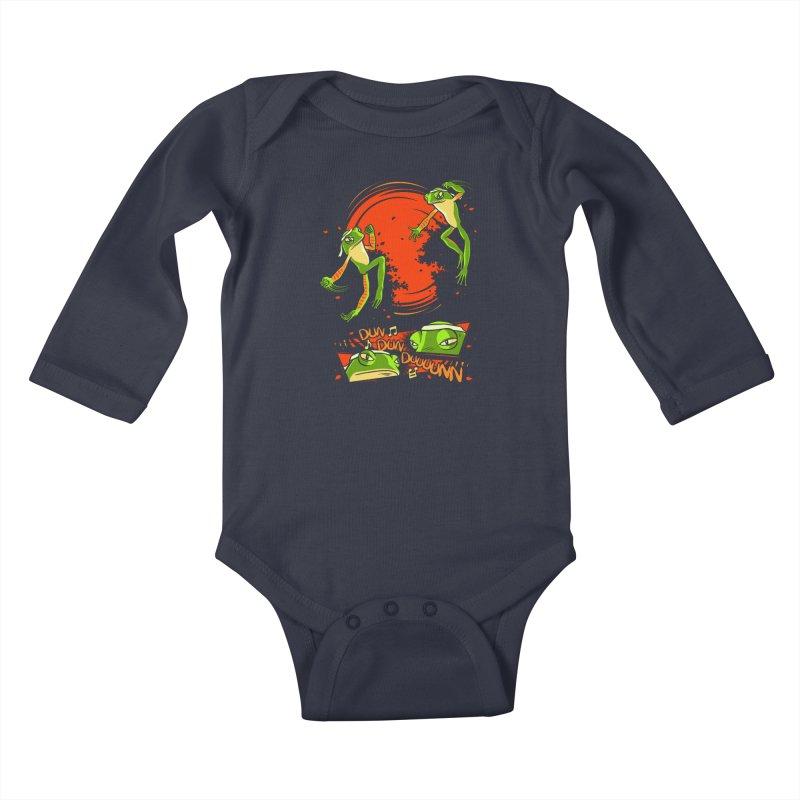 Peruvian Fighting Frogs Kids Baby Longsleeve Bodysuit by indigo's Artist Shop