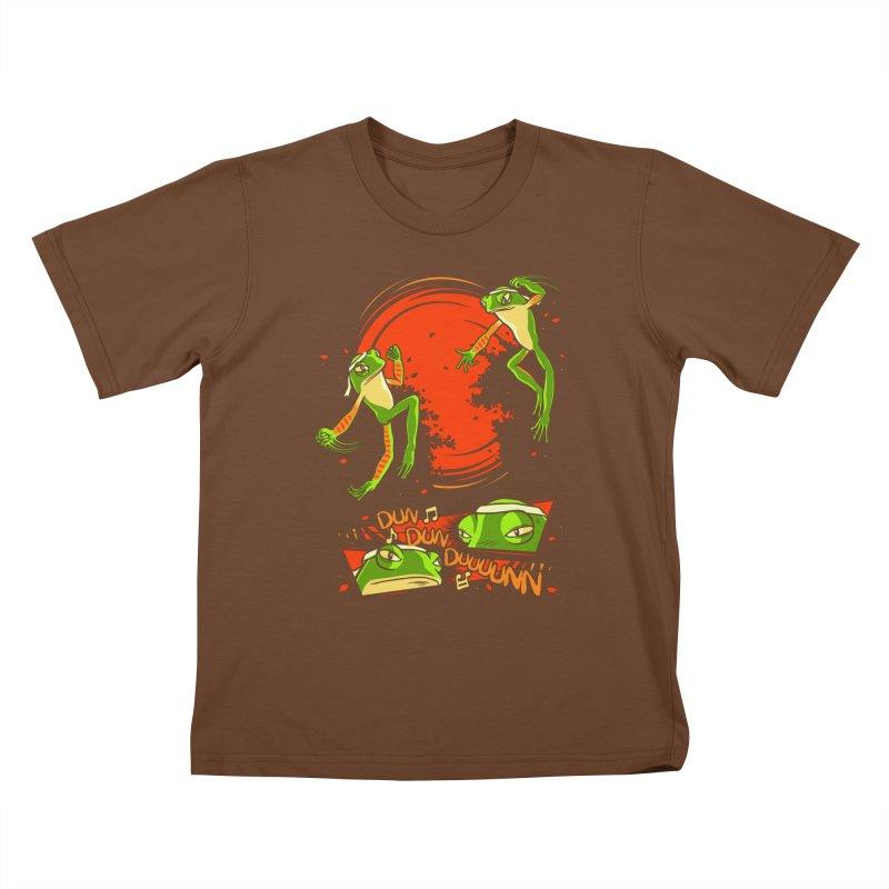 Peruvian Fighting Frogs Kids T-shirt by indigo's Artist Shop