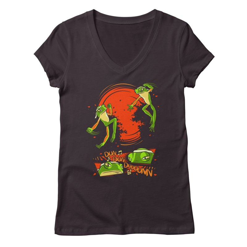 Peruvian Fighting Frogs Women's V-Neck by indigo's Artist Shop