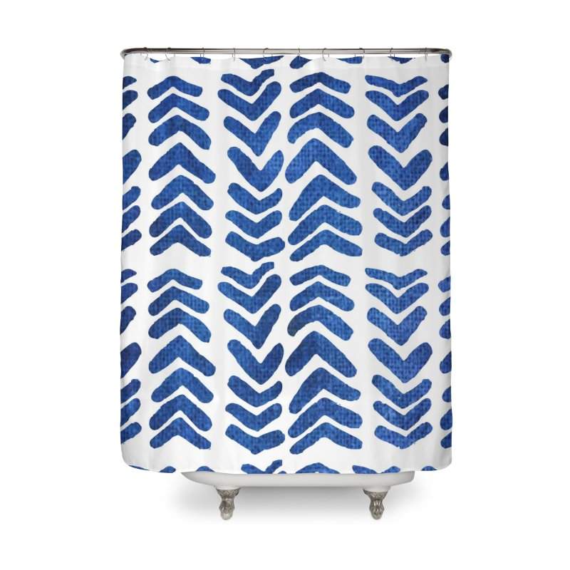 Blue Arrows Home Shower Curtain by Indigoave Artist Shop