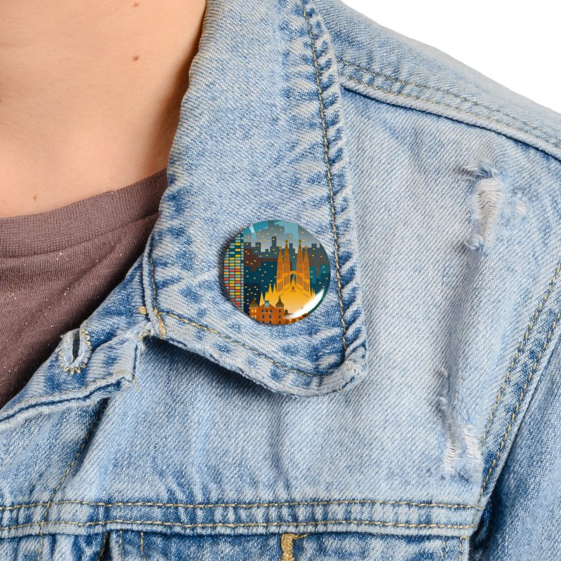 BARCELONA CITY Accessories Button by Indigoave Artist Shop