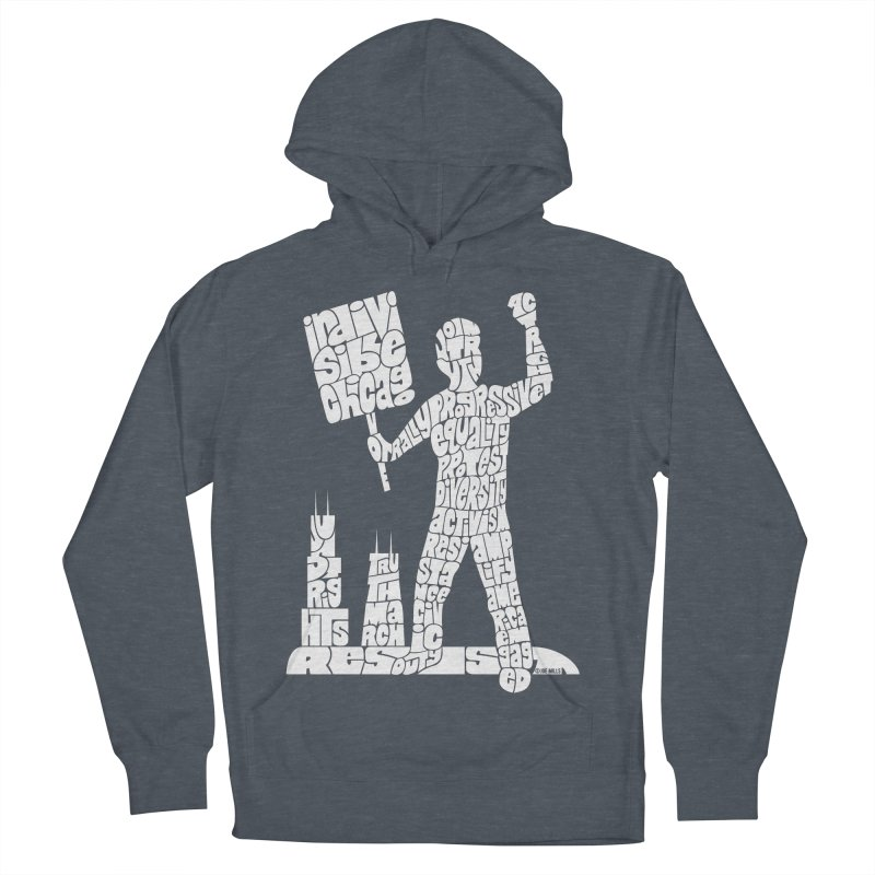 Joe Mills White Men's French Terry Pullover Hoody by Indivisible Chicago Store