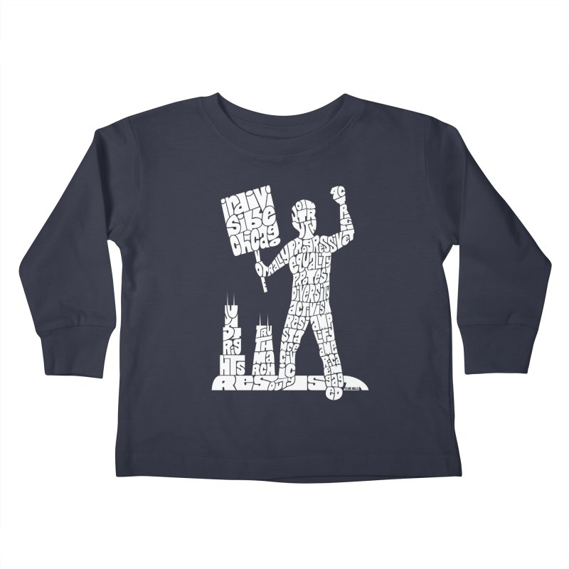 Joe Mills White Kids Toddler Longsleeve T-Shirt by Indivisible Chicago Store
