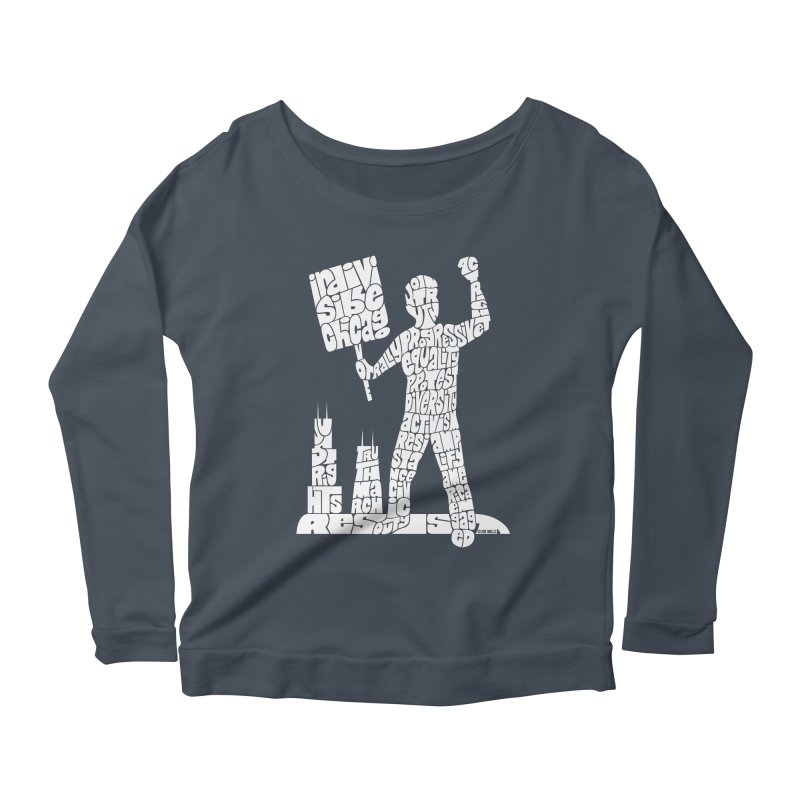 Joe Mills White Women's Scoop Neck Longsleeve T-Shirt by Indivisible Chicago Store