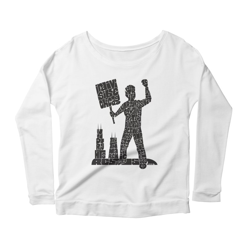 Joe Mills Black Women's Scoop Neck Longsleeve T-Shirt by Indivisible Chicago Store