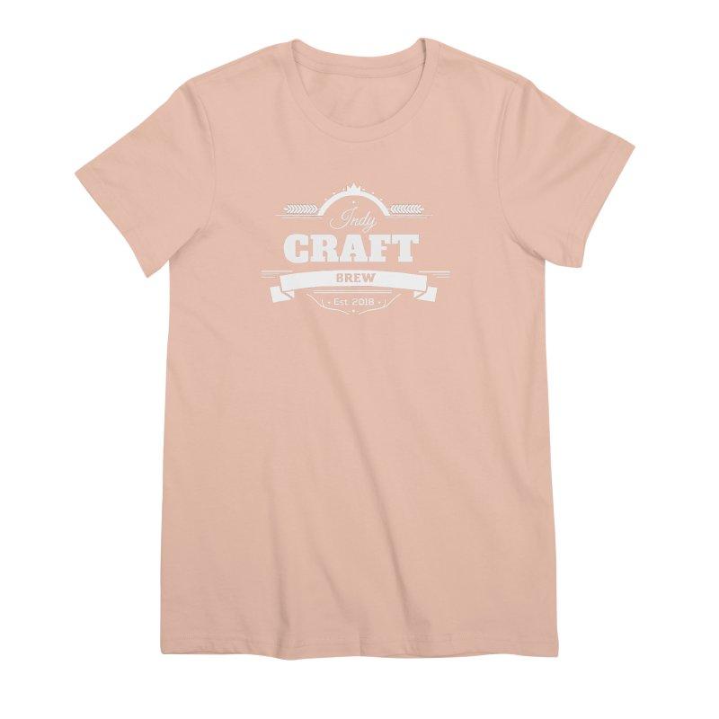 Large White ICB Logo Women's Premium T-Shirt by Indy Craft Brew's Shop