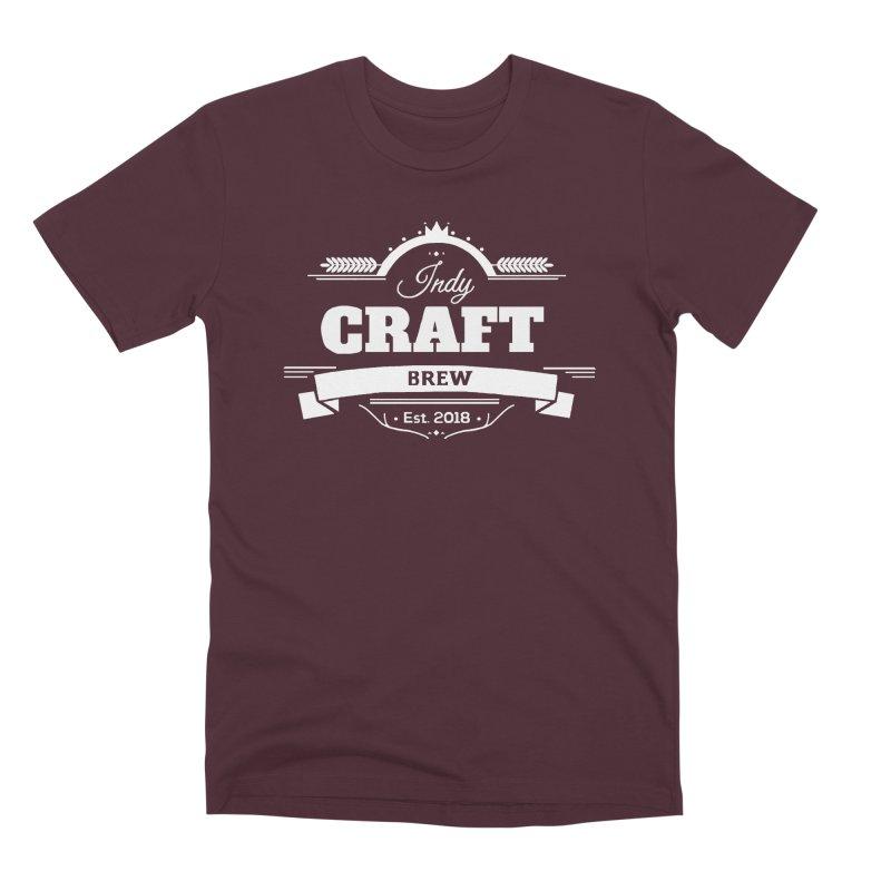 Large White ICB Logo Men's Premium T-Shirt by Indy Craft Brew's Shop