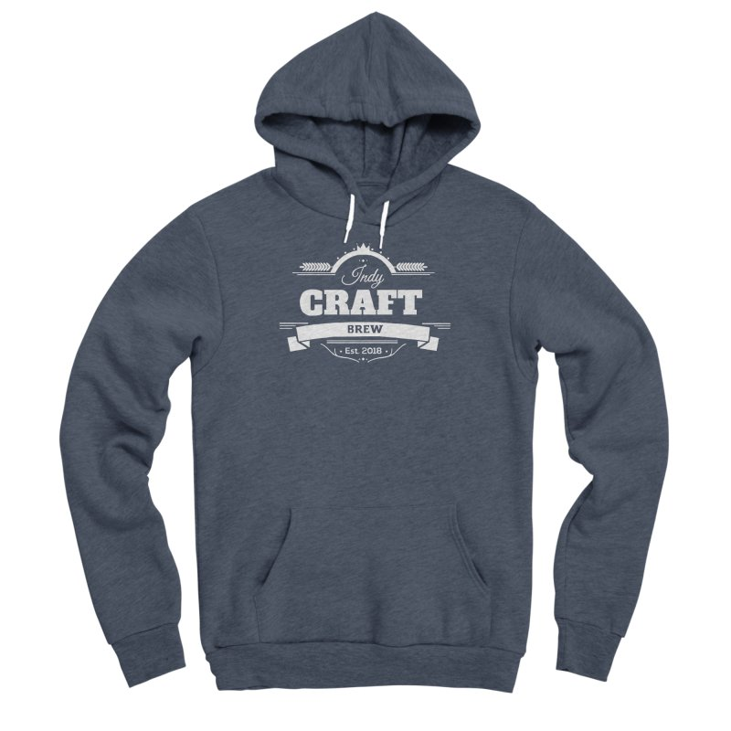 Large White ICB Logo Men's Sponge Fleece Pullover Hoody by Indy Craft Brew's Shop