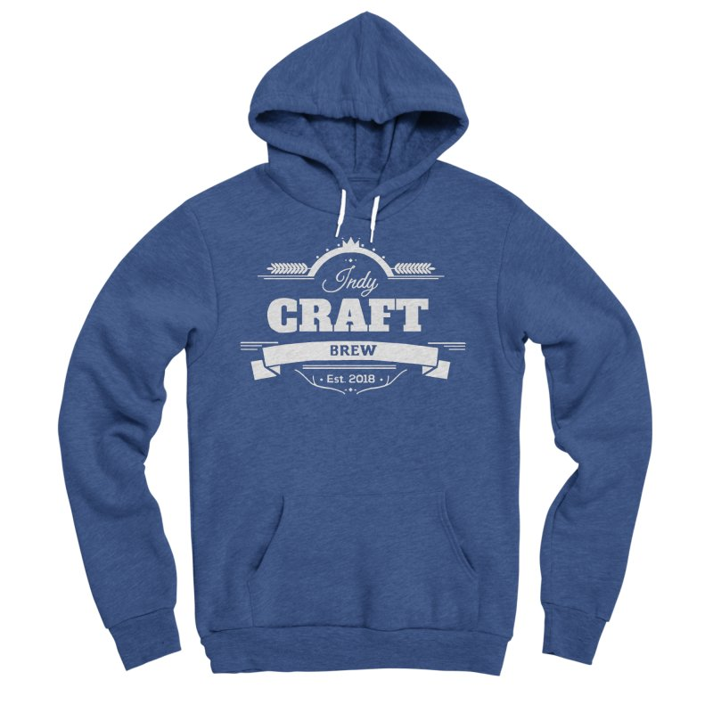 Large White ICB Logo Women's Sponge Fleece Pullover Hoody by Indy Craft Brew's Shop
