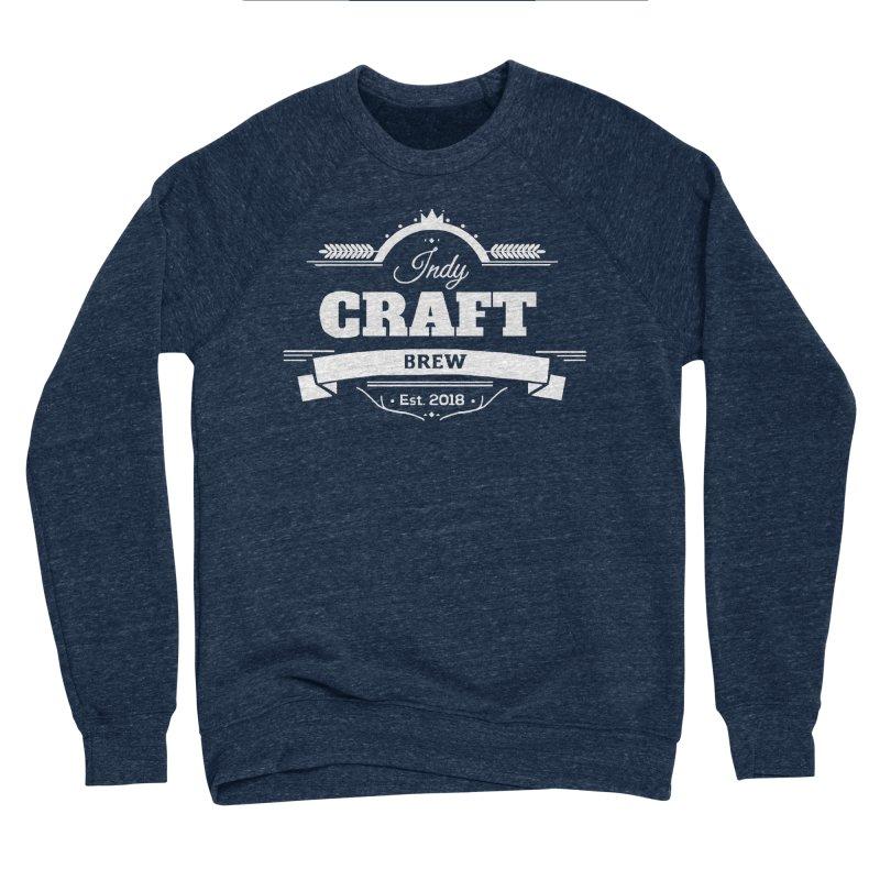 Large White ICB Logo Men's Sponge Fleece Sweatshirt by Indy Craft Brew's Shop