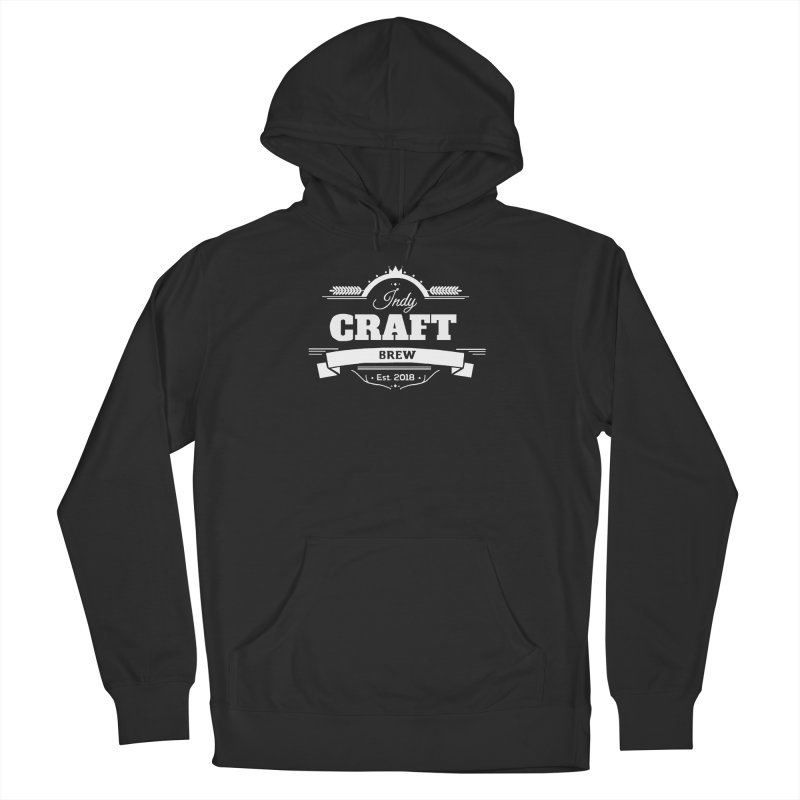 Large White ICB Logo Men's French Terry Pullover Hoody by Indy Craft Brew's Shop