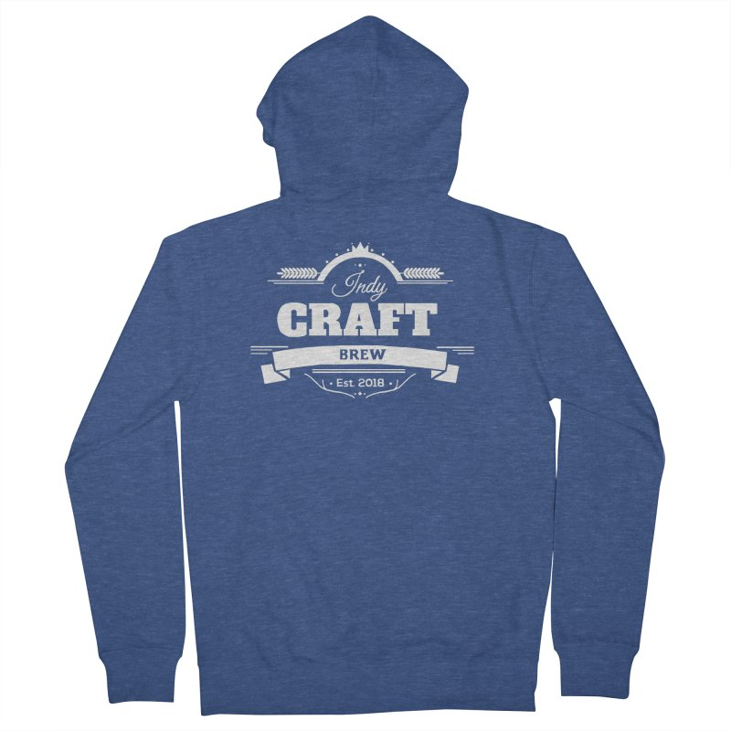 Large White ICB Logo Men's French Terry Zip-Up Hoody by Indy Craft Brew's Shop