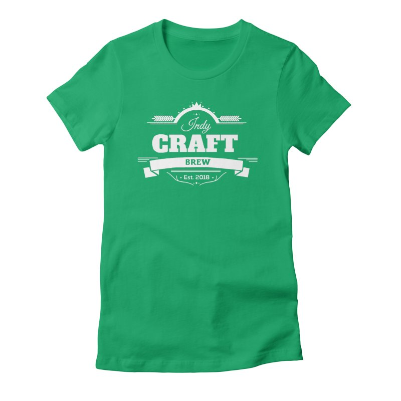Large White ICB Logo Women's Fitted T-Shirt by Indy Craft Brew's Shop