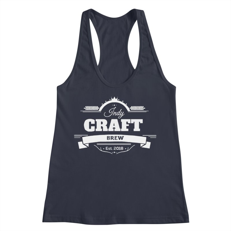 Large White ICB Logo Women's Racerback Tank by Indy Craft Brew's Shop