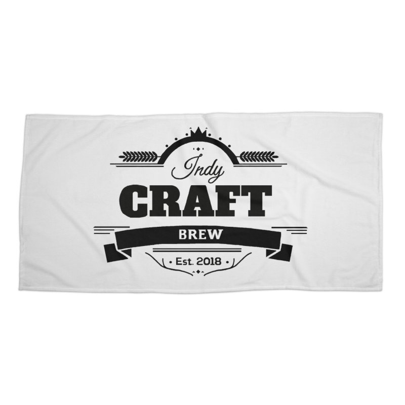 Large Black ICB Logo Accessories Beach Towel by Indy Craft Brew's Shop