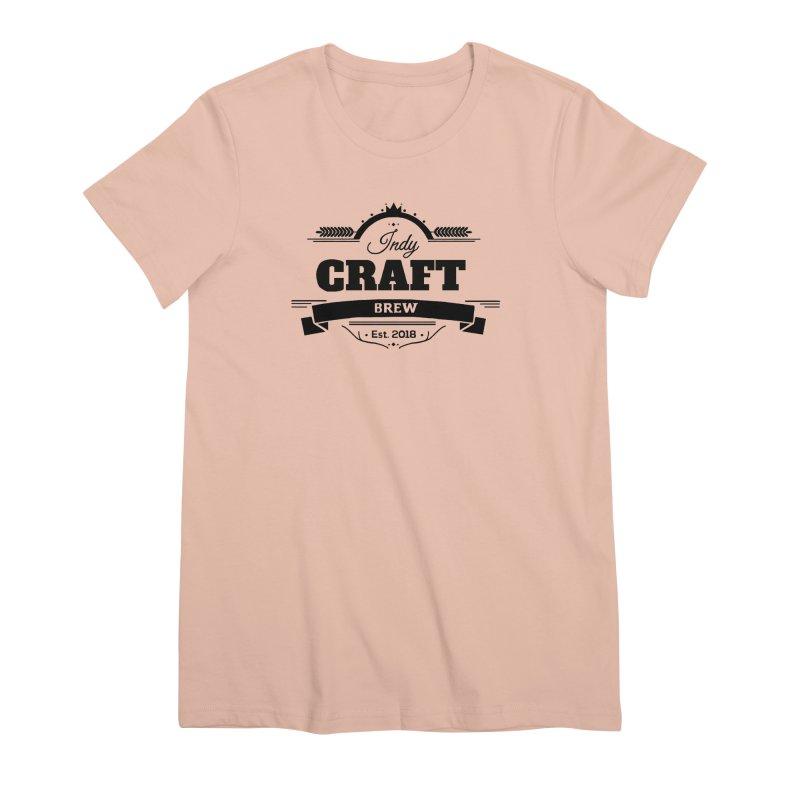 Large Black ICB Logo Women's Premium T-Shirt by Indy Craft Brew's Shop