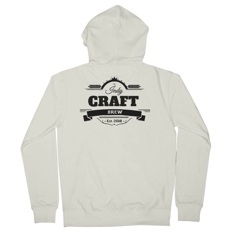Large Black ICB Logo Men's French Terry Zip-Up Hoody by Indy Craft Brew's Shop