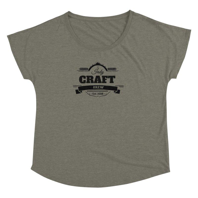 Large Black ICB Logo Women's Dolman Scoop Neck by Indy Craft Brew's Shop