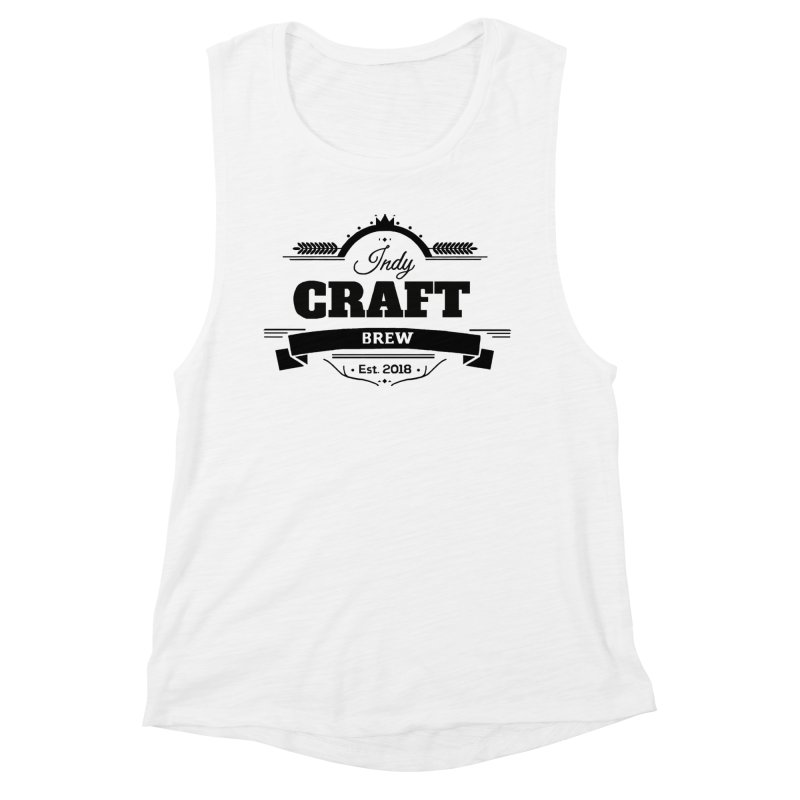 Large Black ICB Logo Women's Muscle Tank by Indy Craft Brew's Shop