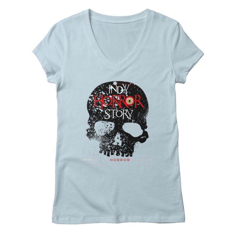 Indy Horror Story Skull Logo Women's V-Neck by indyhorrorstory's Artist Shop