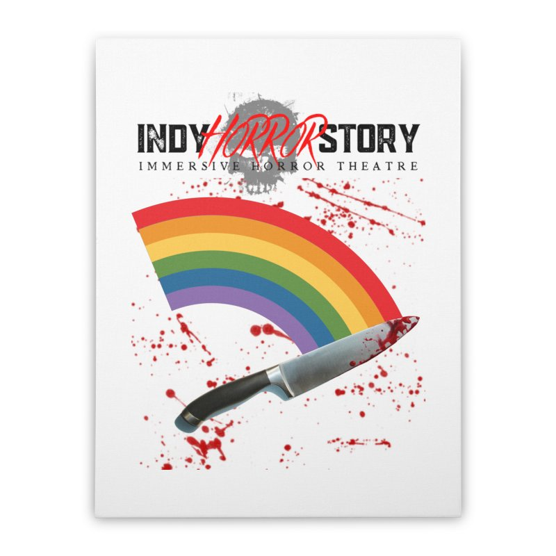 IHS Pride Rainbow Home Stretched Canvas by indyhorrorstory's Artist Shop