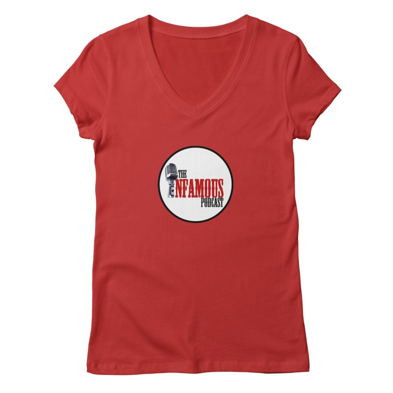 Small Infamous Podcast Logo Women's Regular V-Neck by The Infamous Podcast's Artist Shop